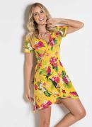 Vestido Floral e Amarelo com Transpasse