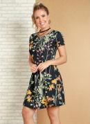 Vestido Floral e Folhagem com Detalhe Gota