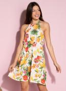 Vestido Floral Frutado com Elástico