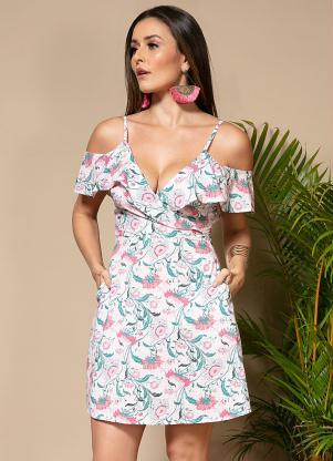 Vestido (Floral Fundo Xadrez) com Babados e Bolsos