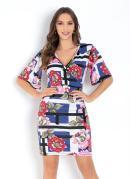 Vestido Floral Gométrico com Mangas Amplas