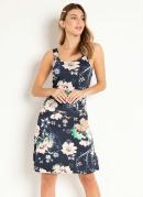 Vestido Floral Marinho com Argola nas Alças