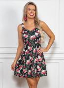 Vestido Floral Modelo Evasê com Alças Largas