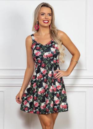 Vestido (Floral) Modelo Evasê com Alças Largas