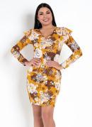 Vestido Floral Mostarda com Babado nos Ombros