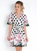 Vestido Floral Poá com Decote Vazado