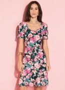Vestido Floral Preto com Babados e Tira