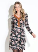 Vestido Floral Preto com Botões