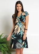 Vestido Floral Preto Mangas Curtas Decote com Nó