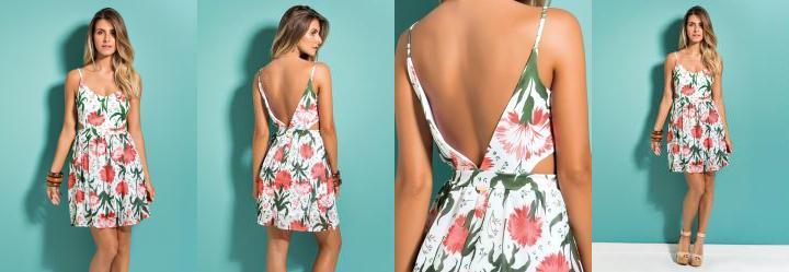 Vestido Floral Quintess com Decote V nas Costas