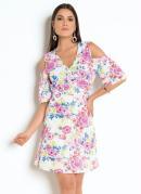Vestido Floral Transpassado e Mangas Vazadas