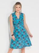 Vestido Floral Turquesa com Gola no Decote