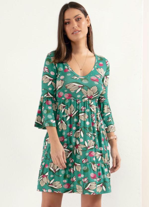 Vestido (Floral Verde) com Franzidos