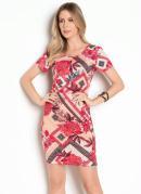 Vestido Floral Vermelho com Mangas Curtas