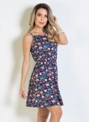 Vestido Floral Vintagem com Alças e Evasê
