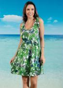 Vestido Folhagens Verde com Alça de Amarrar
