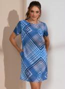 Vestido Geométrico Azul com Bolsos