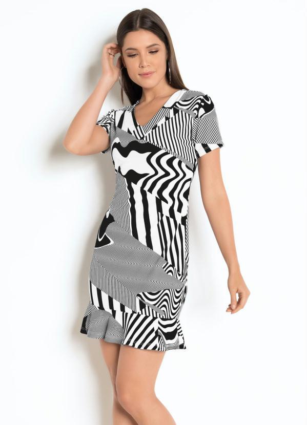 Vestido (Geométrico) com Babado e Mangas Curtas