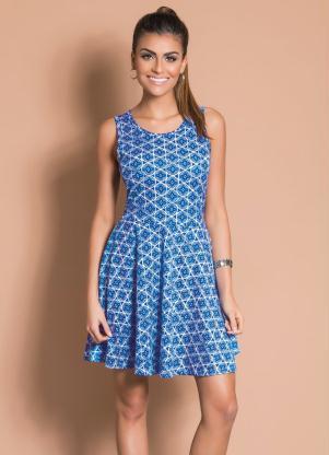 Vestido Godê com Recortes Estampado (Azul)