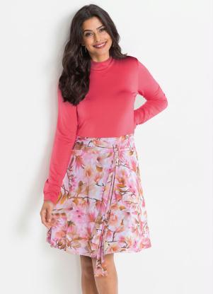 Vestido Gola Alta com Amarração (Floral Rosa)