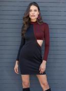 Vestido Gola Alta com Recorte Preto