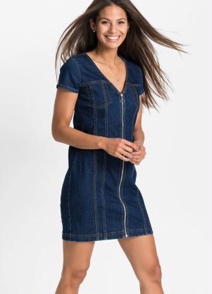 Vestido Jeans com Zíper (Azul Médio)