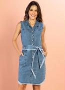 Vestido Jeans Médio com Bolsos e Faixa