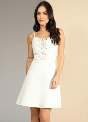 Vestido Jeans (Off White) com Corselet Frontal