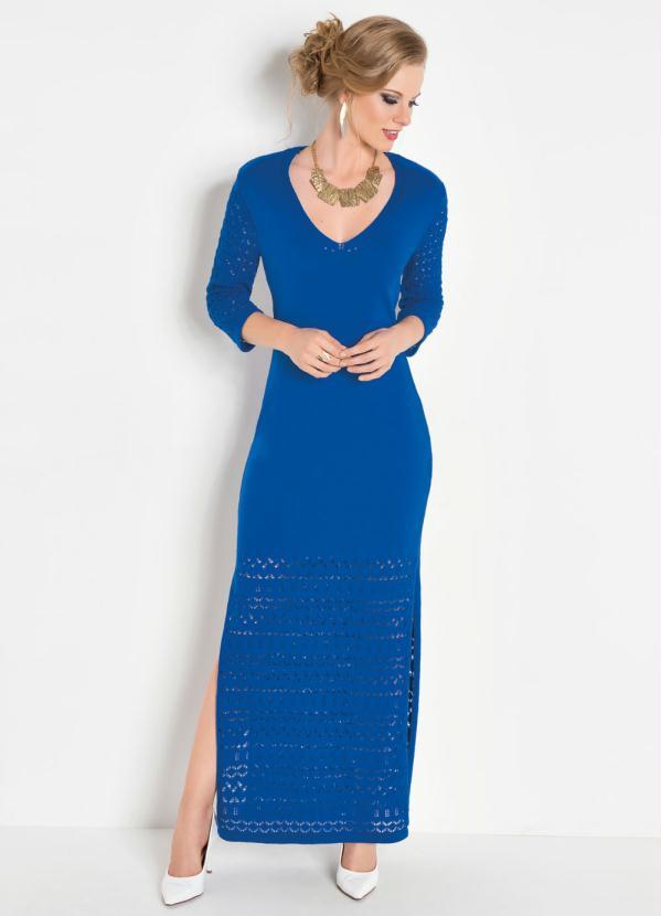 Vestido Longo (Azul Bic) com Manga 7/8