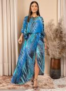 Vestido Longo Fluído Azul com Saia Transpassada