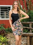 Vestido Mix de Estampa com Recorte Frontal