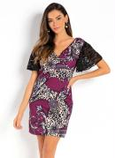 Vestido Mix de Estampas com Transpasse no Decote