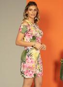 Vestido Mix Print Rosa com Torção