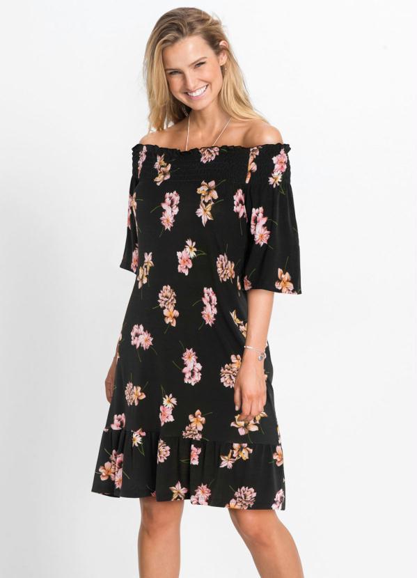 Vestido Ombro a Ombro (Floral Preto)