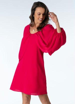 Vestido (Pink) com Mangas Amplas Sobrepostas
