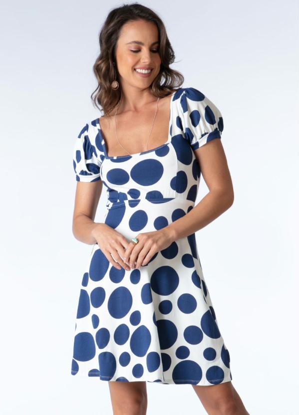 Vestido (Poá Azul) com Decote Quadrado