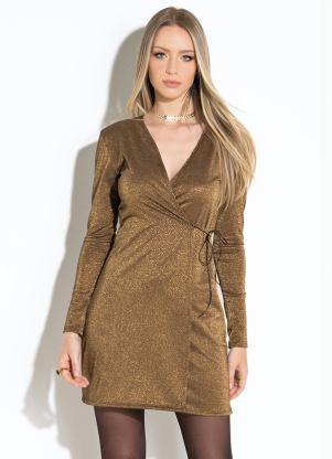 25a888a15 Vestido Preto com Dourado Transpassado - Quintess