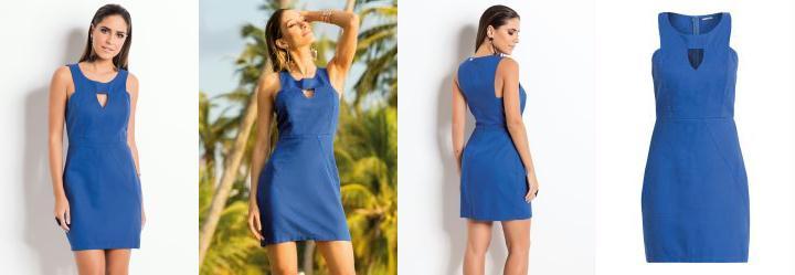 Vestido Quintess Azul com Vazado no Decote