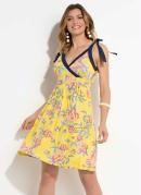 Vestido Quintess Azul e Floral Amarelo