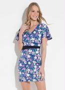 Vestido Quintess Clássico Floral Azul e Decote V