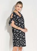 Vestido Quintess Clássico Floral Preto