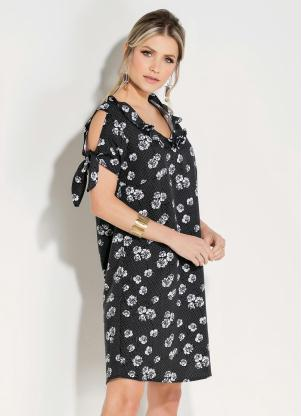 Vestido Quintess Clássico (Floral Preto)