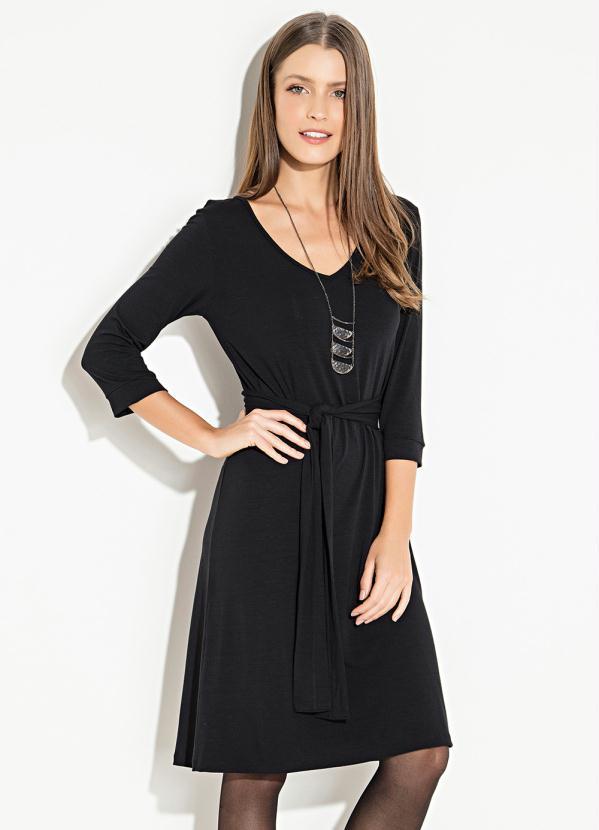 Vestido Quintess Clássico (Preto) com Faixa