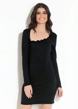 d3bbf85d5a Vestido Quintess Clássico Preto com Franzido - Quintess