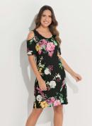 Vestido Quintess com Ombros Vazados Floral Dark
