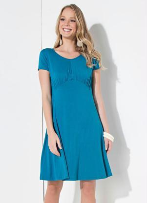 dd0512401a Vestido Quintess Curto Azul com Drapeado - SouLojista