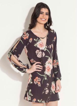 2b1d274b51 Vestido Quintess Curto Floral Preto - Quintess