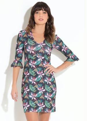 750c0fcec Vestido Quintess Floral com Babado nas Mangas - Quintess
