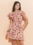 Vestido Quintess Floral com Babado no Decote