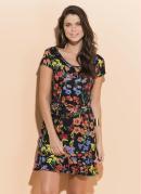 Vestido Quintess Floral Dark Curto com Babado